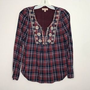 Cape Juby Plaid flannel embroidered top sz XZ